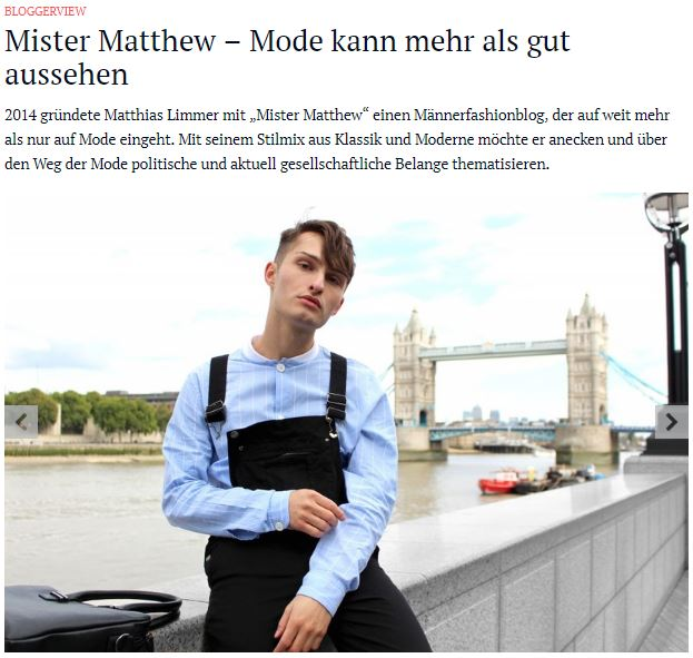 Mister Matthew Interview mit Fashn.de