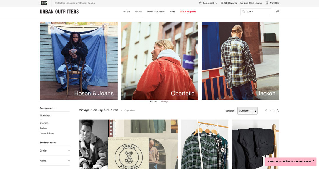 Urban Outfitters Vintage Shop Herren.